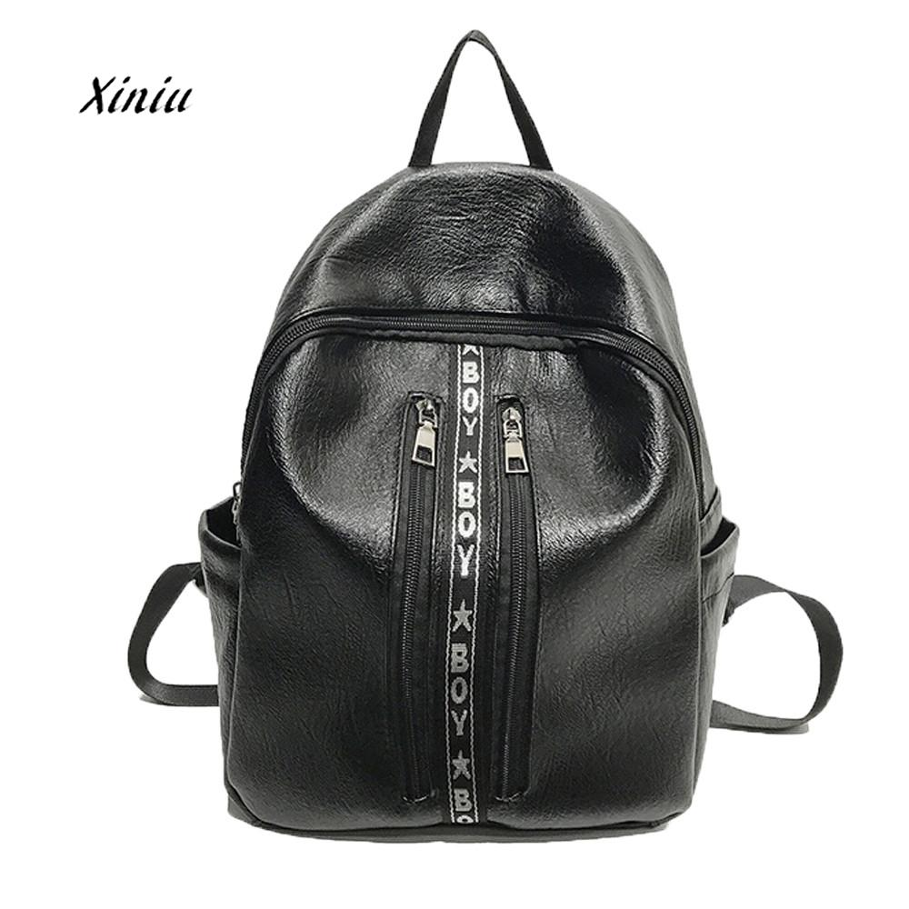 Women Girls Fashion Letters Backpack Women PU Leather Shoulder Bags Vintage Girls School Bags Backpack Travel Student Boy Bag