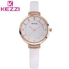 K759 KEZZI Cuero Marca Correa Relojes Mujeres Vestido Relojes Relogio Impermeable reloj de Señoras Del Reloj de Regalo 916