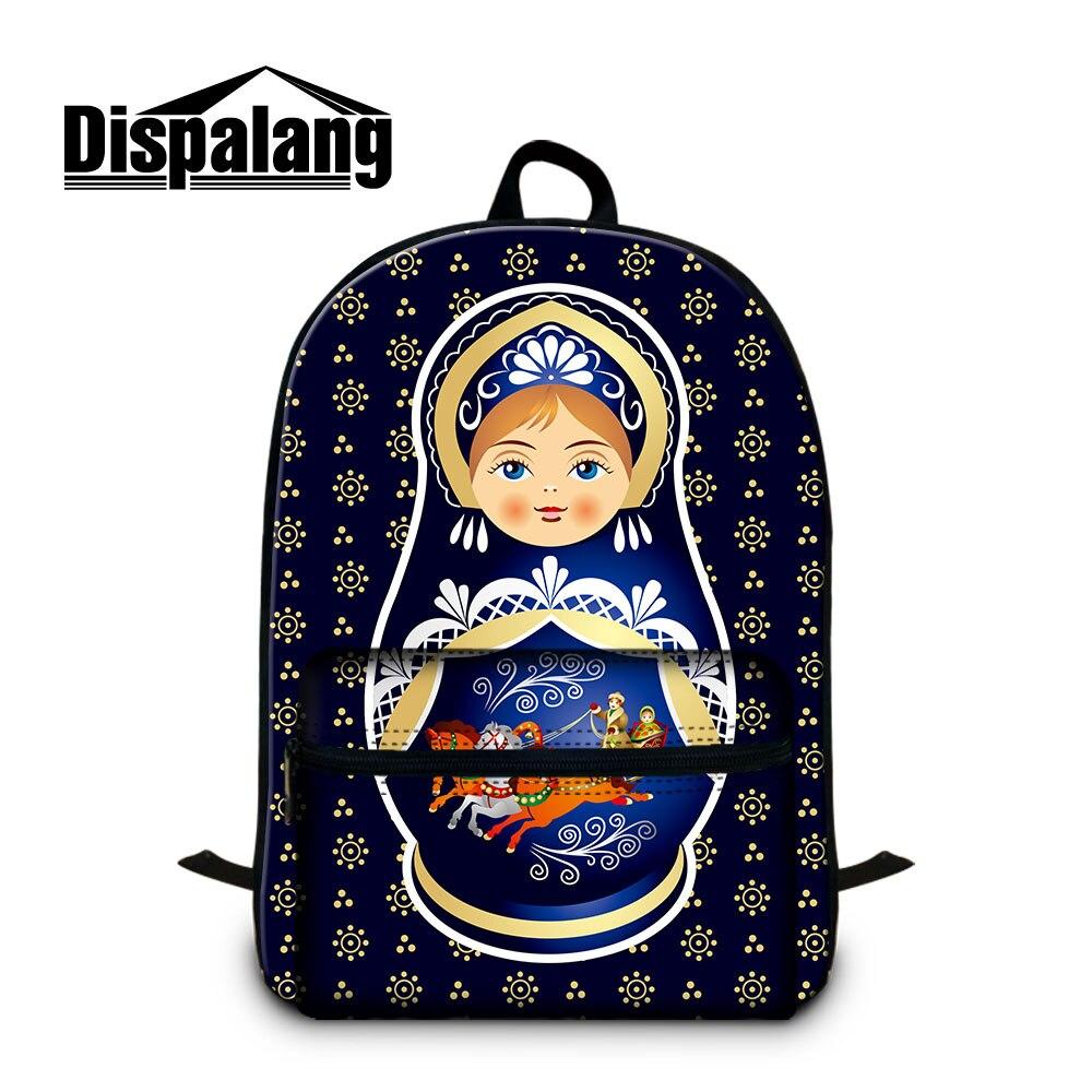 Cartable étudiant Simple pour les filles en plein air sac à dos de dame personnalisé sacs en coton fantaisie conception Matryoshka russie poupée motif mots
