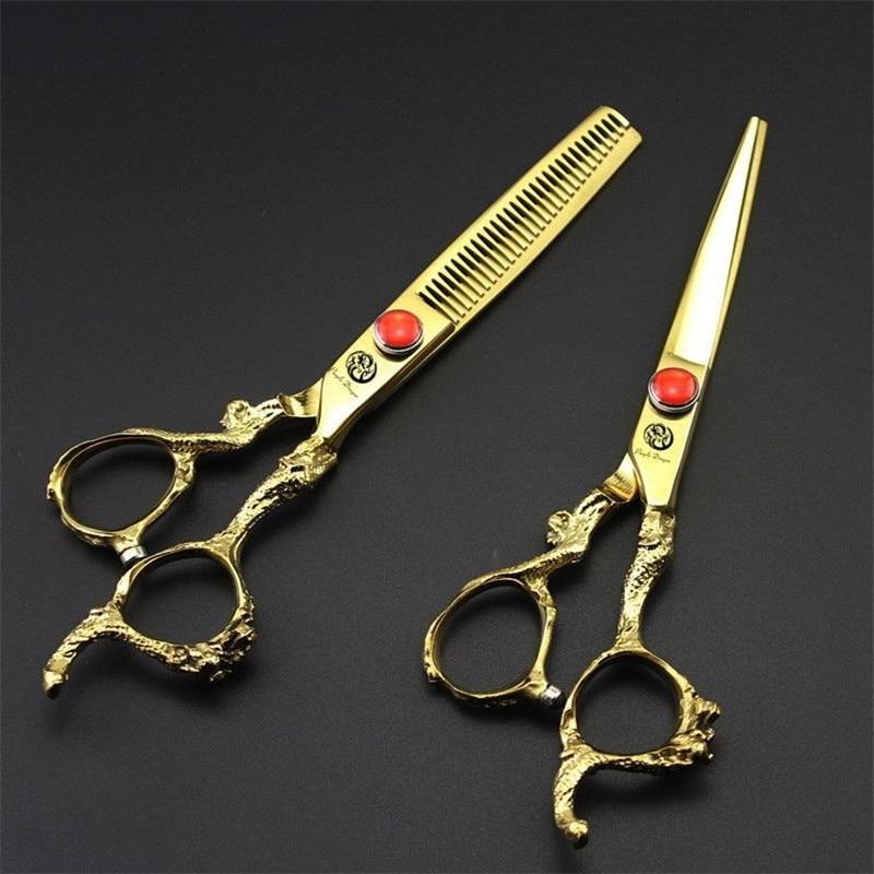 Purple Dragon 6 Inch High Quality Professional Hairdressing Scissors Set Hair Cutting Thinning Barber Shears Kit Salon Equipment