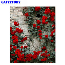 GATYZTORY Frameless Romantic Rose DIY Painting By Numbers Flower Wall Art Picture Paint By Number Canvas Painting For Home Decor(China)