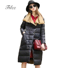 Winter Duck Down Jacket Women Fashion Both Sides Wear Medium Long Warm Coat 2018 New Ladies Golden Black Parkas Outerwear