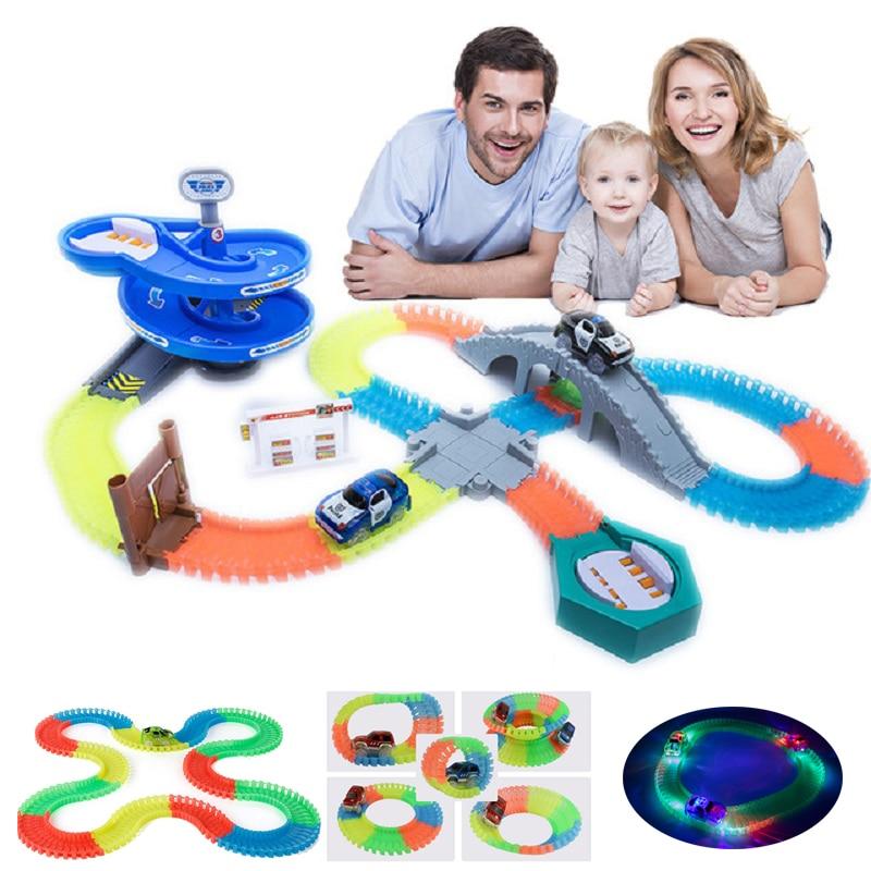 KACUU Magical Track Miraculous Glowing Race Track DIY Universal Accessories Ramp Turn Road Bridge Crossroads Toys For Children