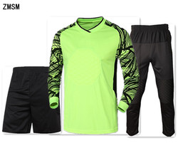 ZMSM Long Men's Soccer Goalkeeper Clothing Adult Soccer Jerseys kit Mesh Sponge protection Football Goalkeeper Doorkeepers Suit