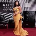 Сексуальная Золото Русалка Знаменитости Платья Sparkly Бисера Африке Женщины Формальные Вечер Награды Red Carpet Платья Кисть Поезд