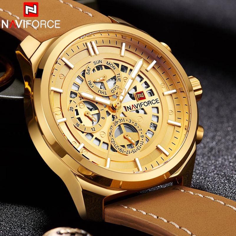 купить 2018 NAVIFORCE Brand Luxury Quartz Watch Men Waterproof Sport Watches Mens 24 Hour Leather Analog Gold Clock Relogio Masculino по цене 1903.25 рублей