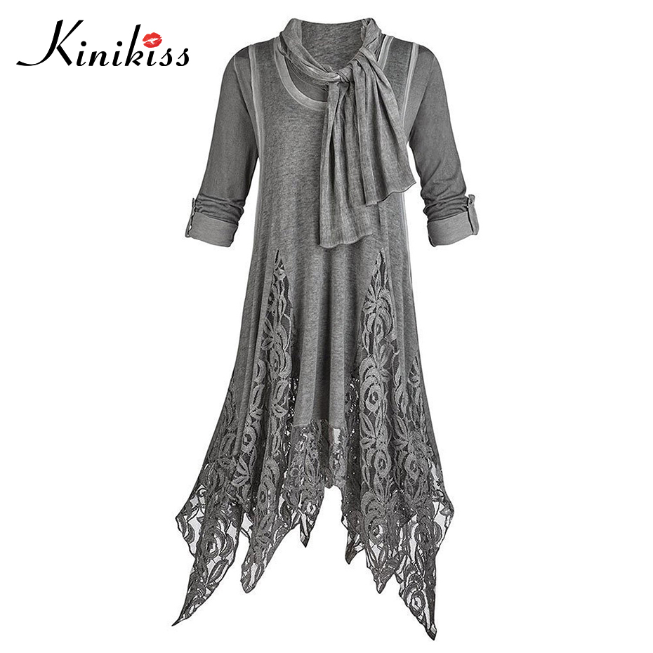 Kinikiss spring lace dress fashion appliques knee-length dress round neck asymmetric half sleeve dress elegant gray casual dress
