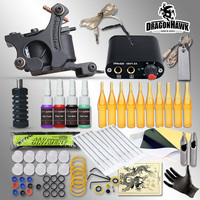 Complete Tattoo Kits 8 Wrap Coils Guns Machine 1 6oz Black Tattoo Ink Sets Power Supply