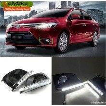eeMrke LED Daytime Running Lights For Toyota Yaris Sedan Vios 2013 2014 2015 White DRL Light Fog Lamp Cover Kits