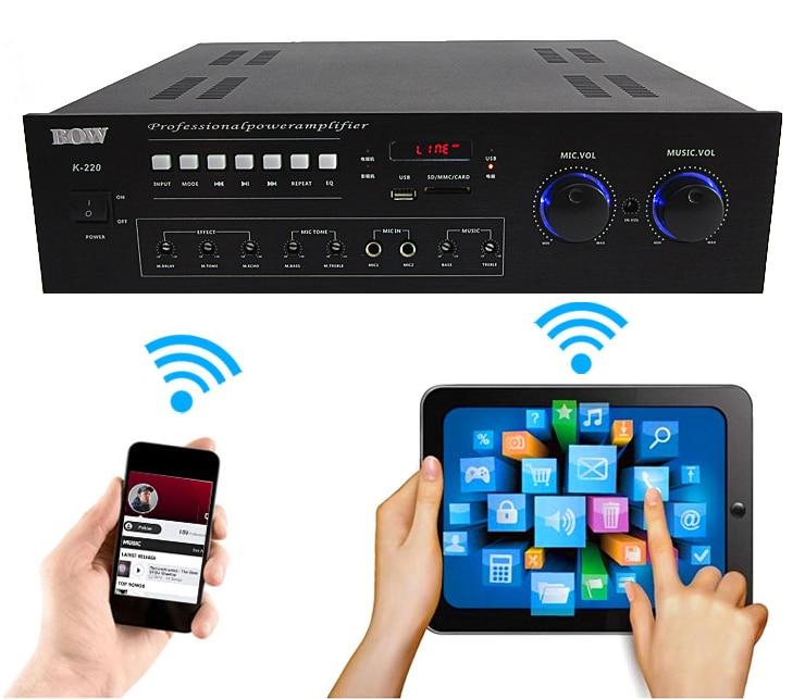 400W + 400W AK-220 HIFI Bluetooth KTV amplifier home Kara OK amplifier radio U disk SD card player набор для настройки звука zebra ktv ok