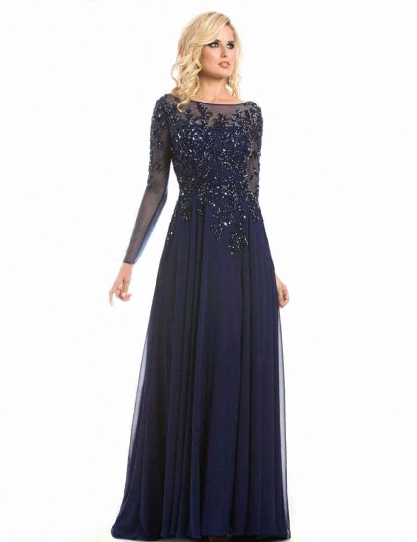 Elegant Lace Long Sleeve Party Dress Party Gowns Navy Blue ...