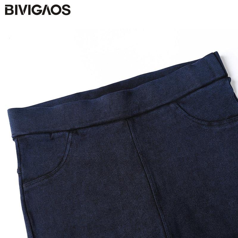 BIVIGAOS Kadınlar Jeans Tayt Casual Moda Skinny Slim Yıkanmış - Bayan Giyimi - Fotoğraf 5