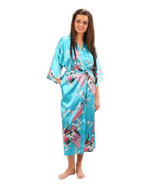 Impresso flor mulheres Robes de seda chinesa Rayon Sleepwear Kimono Bath vestido camisola tamanho ml XL XXL XXXL A-043