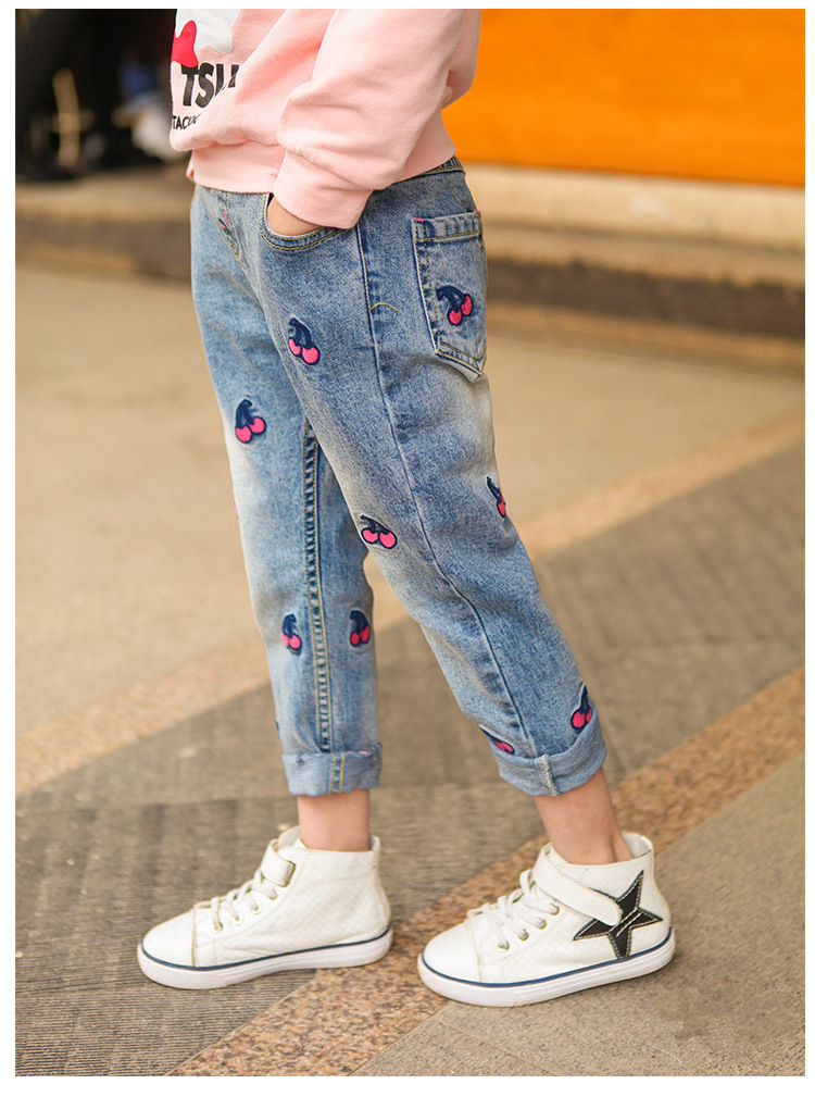 7a4be0de738c 120cm 160cm Fashion Children s Jeans Pants for girls Spring Baby ...