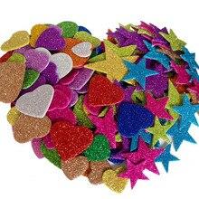 1 упаковка смешанных цветов Размер поролоновые блестящие наклейки формы звезд Свадебные украшения ремесла формы сердца DIY украшения День Рождения Вечеринка