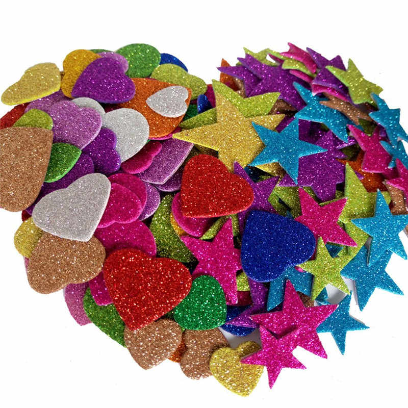 1pack Mixed Color Size Foam Glitter Stickers Star Shapes Wedding Decoration Crafts Heart Shapes DIY Decoration Birthday Party