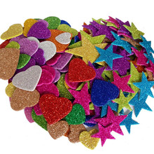 1pack Mixed Color Size Foam Glitter Stickers Star Shapes Wedding Decoration Crafts Heart DIY Birthday Party