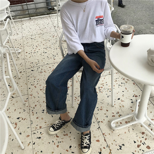 Japanese Harajuku Chic Must Have Loose Street Style Baggy Dark Blue Broad Leg Cowboy Trousers New Fashion Hot Sale Jeans 3