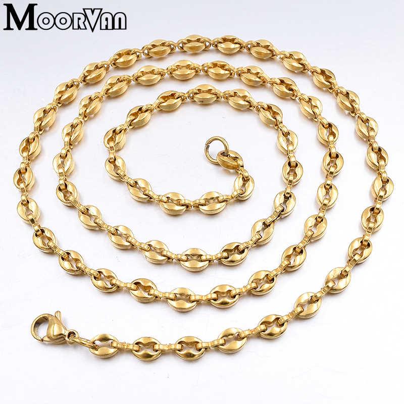 Moorvan очаровательные кофейные бобы цепи женское ожерелье длиной 60 см шириной 4,5 мм из нержавеющей стали мужские ожерелья в стиле хип-хоп, Hommes Collier