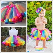 Радужная юбка для девочек; газовая юбка-пачка; детские танцевальные юбки; детская одежда