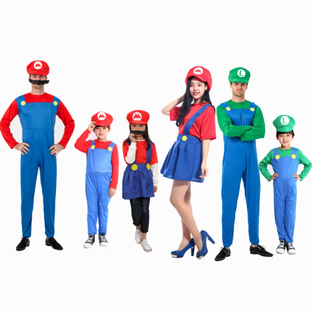 Super Mario Family Costume Kids Adult Boys Funny Luigi Bros Plumber Purim Dance Costume Fancy Dress Ball Party Suit Cap Hats