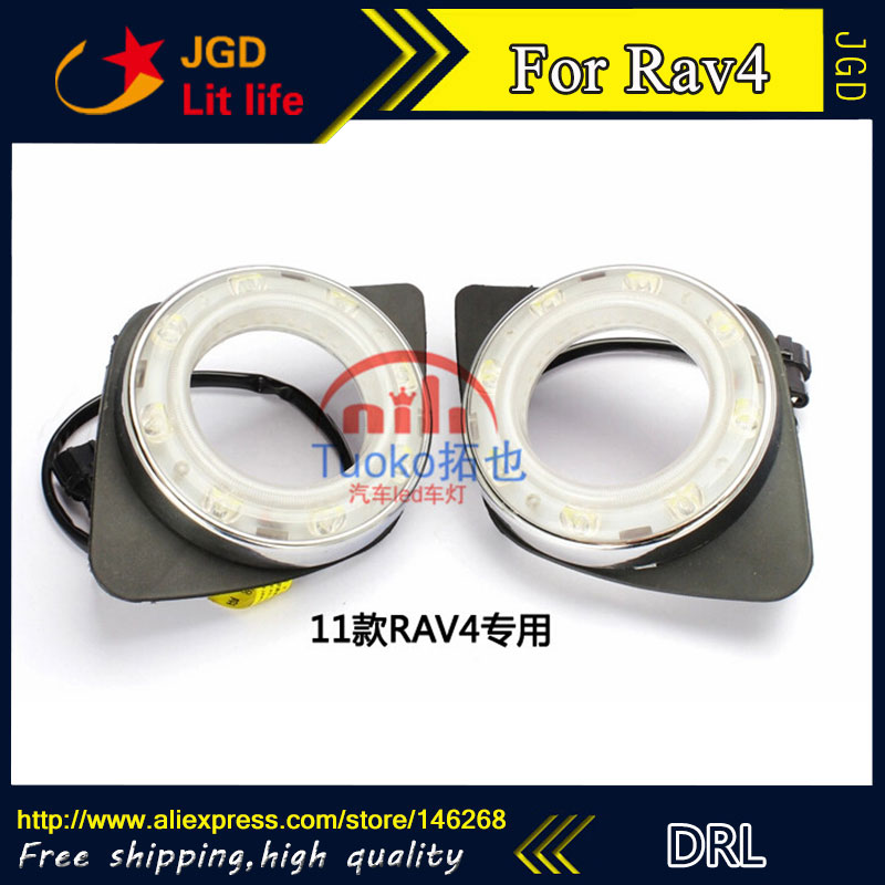 hot sale ! 12V 6000k LED DRL Daytime running light for Toyota RAV4 2009-2011 plating fog lamp frame Fog light