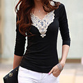 Spring Autumn 2017 New Fashion T Shirt Women Lace Crochet Sexy Long Sleeve Elegant Tops Black White Slim Shirts Plus Size Blusa