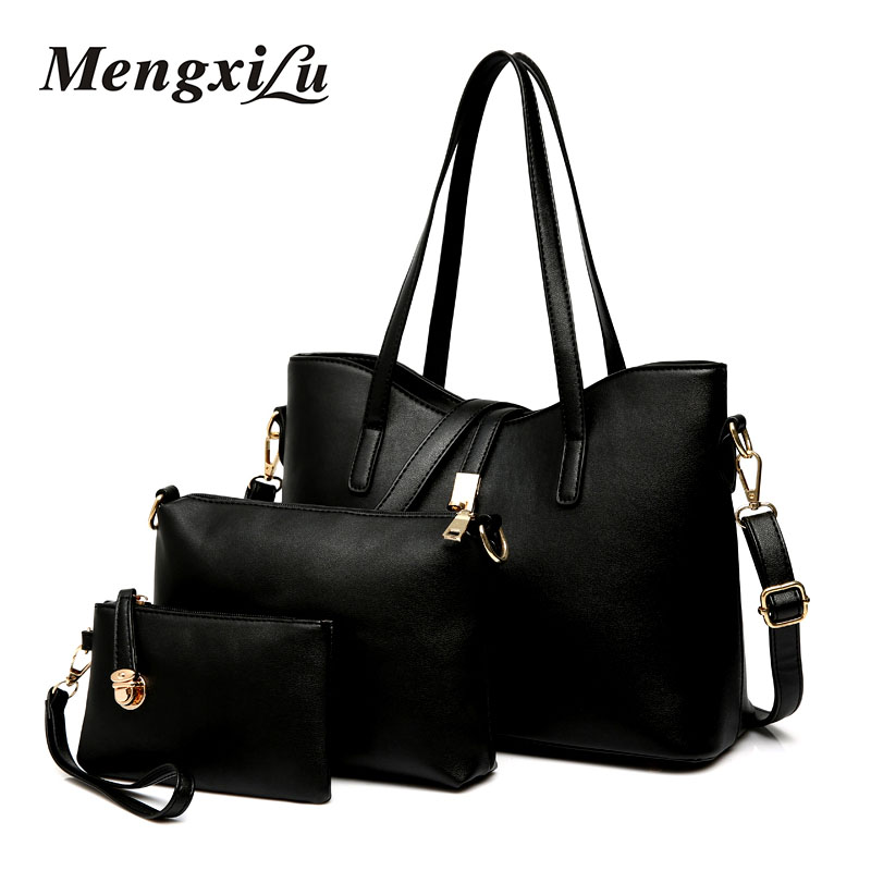 MENGXILU Brand 3 Pcs/Set Casual Tote Bags Women Pu Leather Handbag Large Capacity Women Shoulder Bag Fashion Composite Bags 2017 esufeir brand genuine leather women handbag fashion shoulder bag solid cowhide composite bag large capacity casual tote bag
