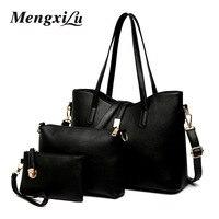 MENGXILU Brand 3 Pcs Set Casual Tote Bags Women Pu Leather Big Bag Women Shoulder Bag