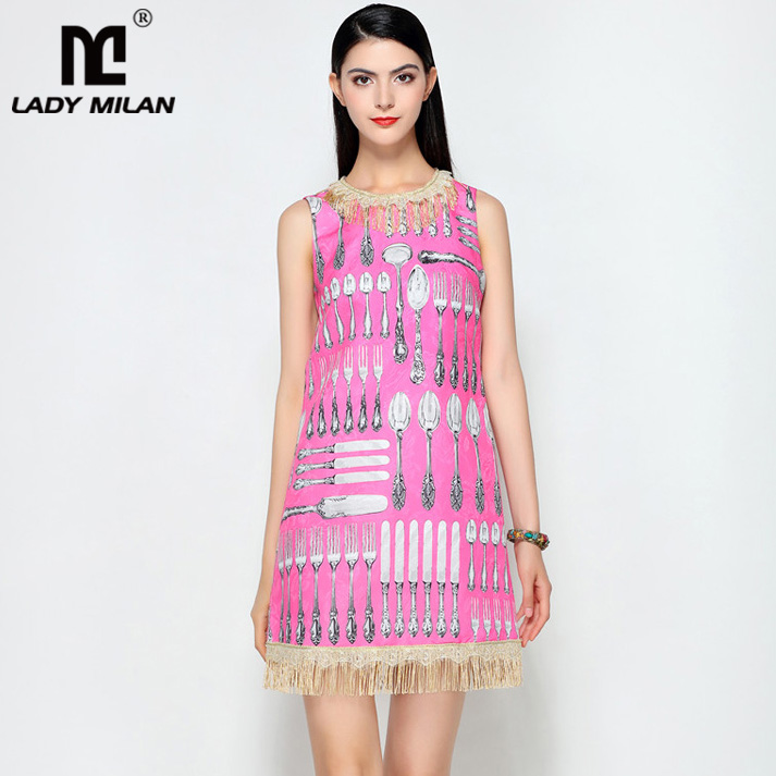 Lady Milan 2018 Womens O Neck Sleeveless Printed Tassels Detailing A Line Fashion Designer Causal Summer Short Dresses