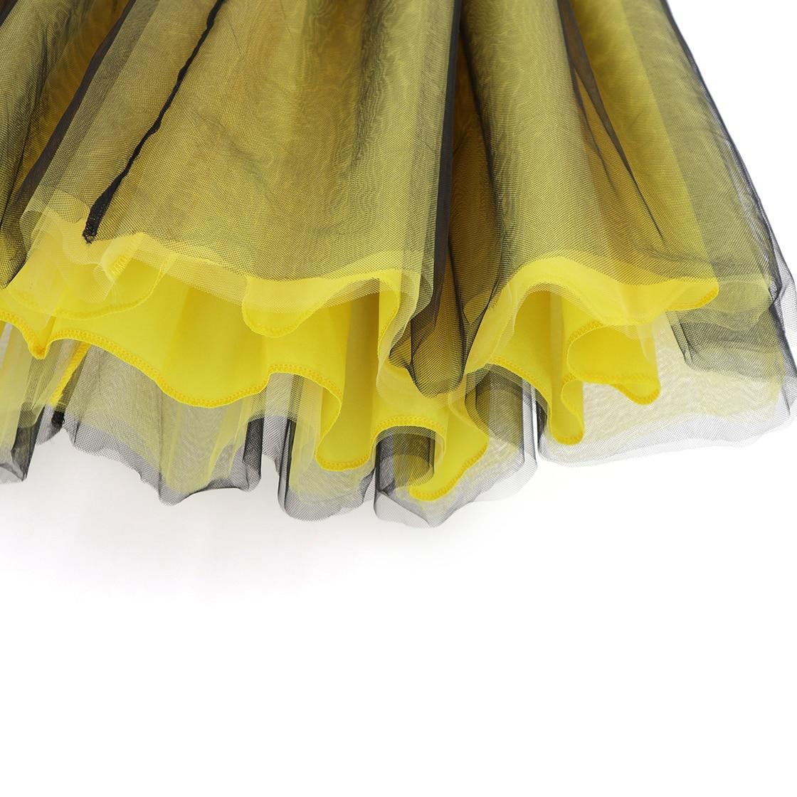 b24d82e73 De 6 capas de tul falda Tutu faldas amarillo para mujer Lolita falda de  falda Jupe párr tallas grandes faldas