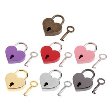 7 Colors Mini Love Heart Shape Lock Luggage Bag Case Gym Locker Padlock With Keys Padlock For Handbag Tiny Craft Diary Box Locks(China)