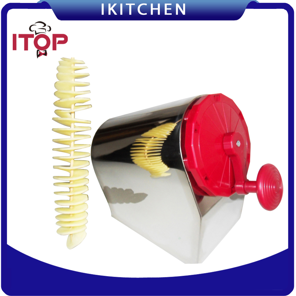 ITOP Manual Stainless Steel Twisted Potato Slicer Spiral Vegetable Cutter French Fry руководство twisted картофеля фри из нержавеющей стали slicer овощей