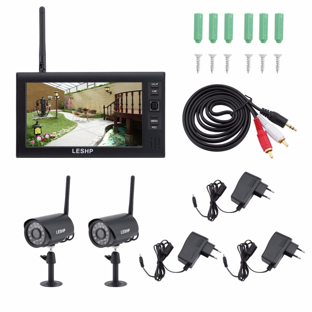 LESHP 7 Inch LCD Monitor 2CH Wireless DVR IR Night Vision IP Camera Outdoor Indoor Home Video Surveillance System EU Plug 7 inch video doorbell tft lcd hd screen wired video doorphone for villa one monitor with one metal outdoor unit night vision