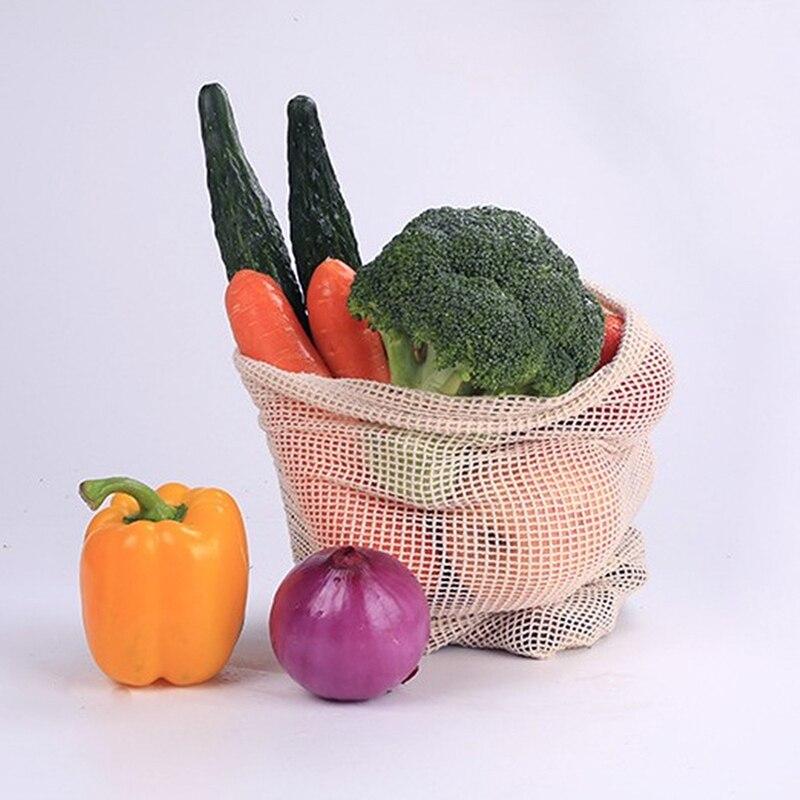 Bolsas de Malla ALGODÓN ecológica sostenible re-utilizable reutilizable varios tamaños 8