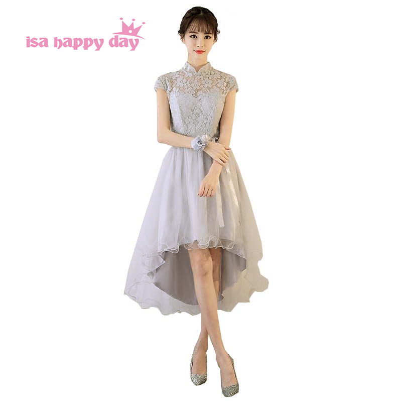 elegant party   dresses   sexy high neck short front for long back high low gray   bridesmaid     dress   the girls made in china H4187