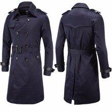 Высокое качество, Модный осенне-зимний Тренч для джентльмена, приталенный двубортный длинный стиль, casaco masculino, пальто
