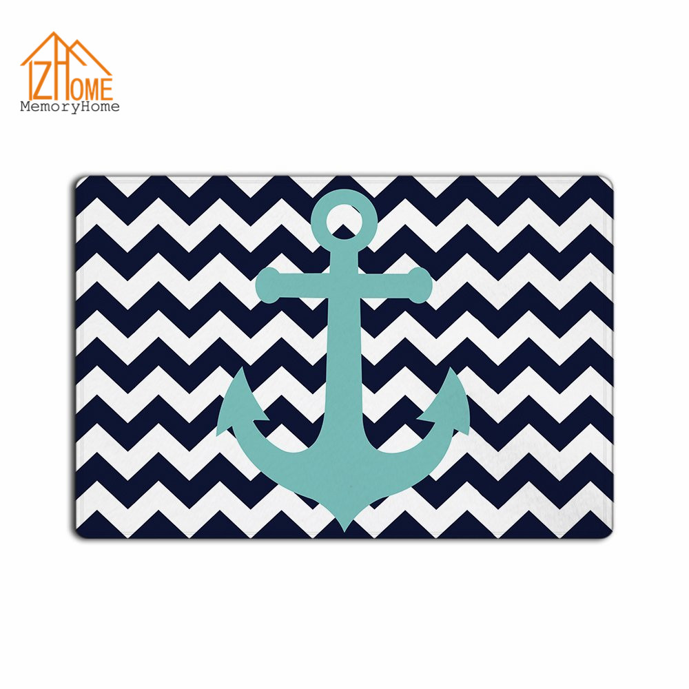Lovely Memory Home Custom Navy Blue Chevron With Nautical Anchor Machine Washable  Fabric Non Slip Indoor Rug Funny Doormat Floor Mat