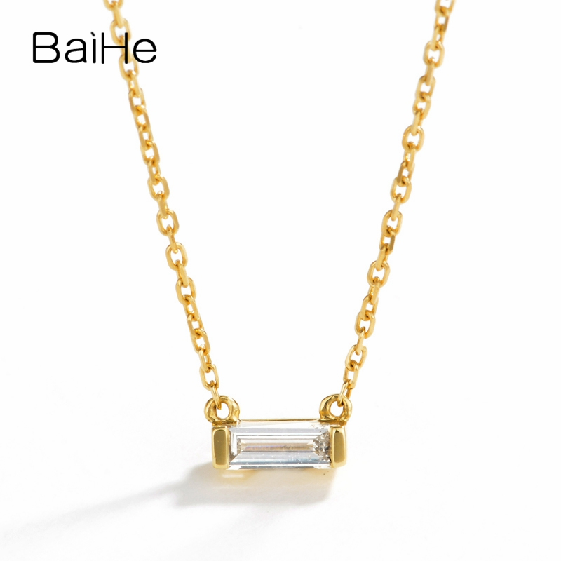 BAIHE Solid 18K Yellow Gold 0.08ct Certified H/SI Genuine Natural Diamond Engagement Women Trendy Fine Jewelry Gift Necklaces baihe solid 18k yellow gold au750 engagement