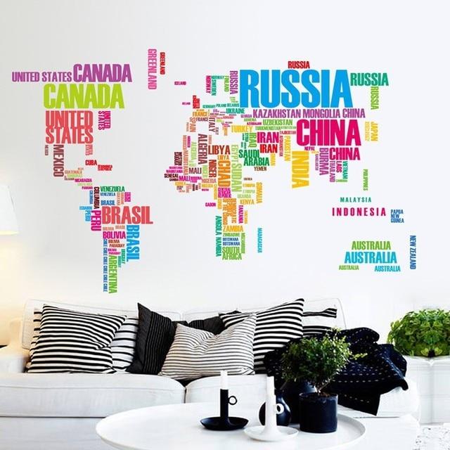 Sale color english alphabet world map patterns large wall sticker sale color english alphabet world map patterns large wall sticker diy mural living room decor modern sciox Choice Image