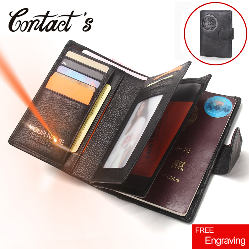 Passport Wallet Case Card-Holder Coin-Purse Credit Travel Genuine-Leather Men Large-Capacity