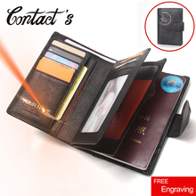 Free Engrave Genuine Leather Men Passport Wallet Fashion Large Capacity Passport Cover Case Travel Hasp Male Solid Card Holder