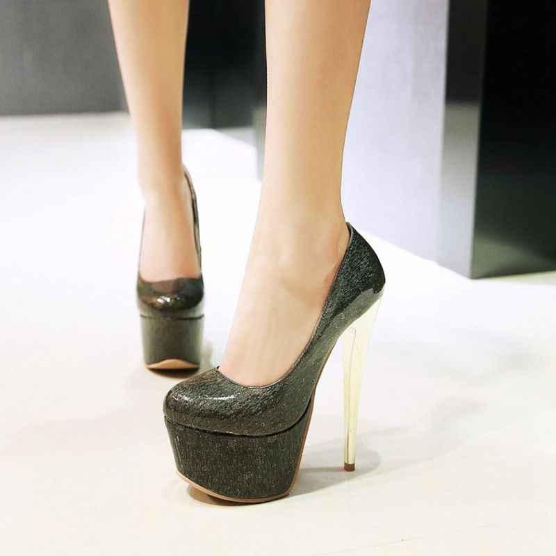 QPLYXCO 2017 Yeni Büyük küçük boy 30-48 yuvarlak ayak süper yüksek topuklu (16 cm) platform ayakkabılar kadınlar seksi pompalar parti düğün ayakkabı Y-32