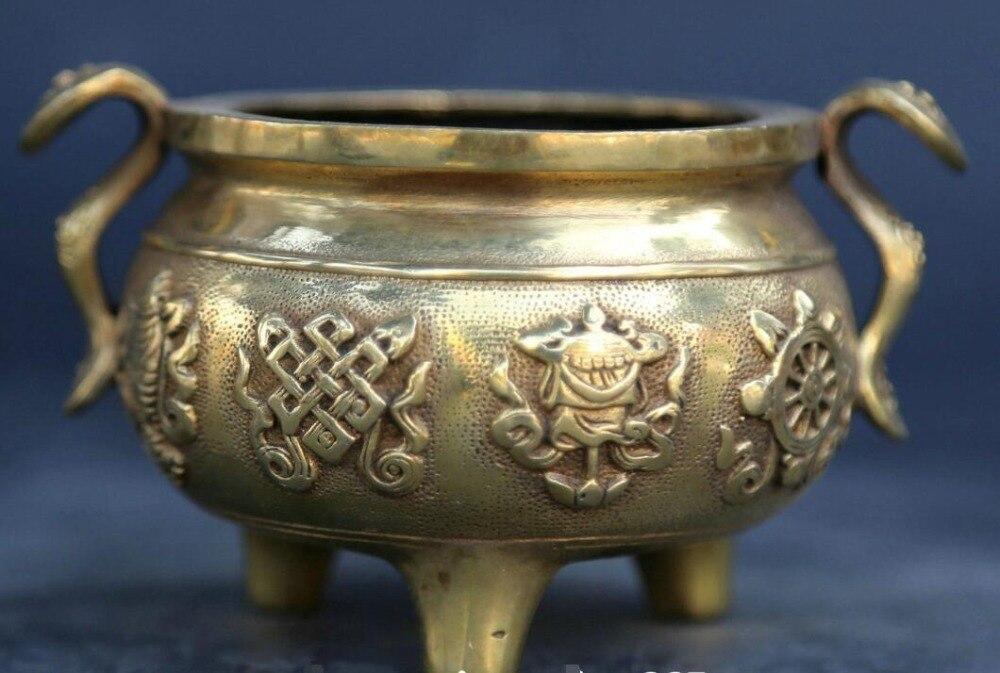4.5 Chinese Buddhism Bronze 8 Auspicious Symbol Ruyi Ding Incense Burner Censer4.5 Chinese Buddhism Bronze 8 Auspicious Symbol Ruyi Ding Incense Burner Censer
