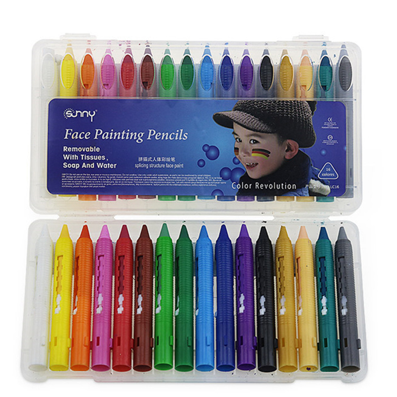 16 Colors Face Painting Pencils Splicing Structure Face ...