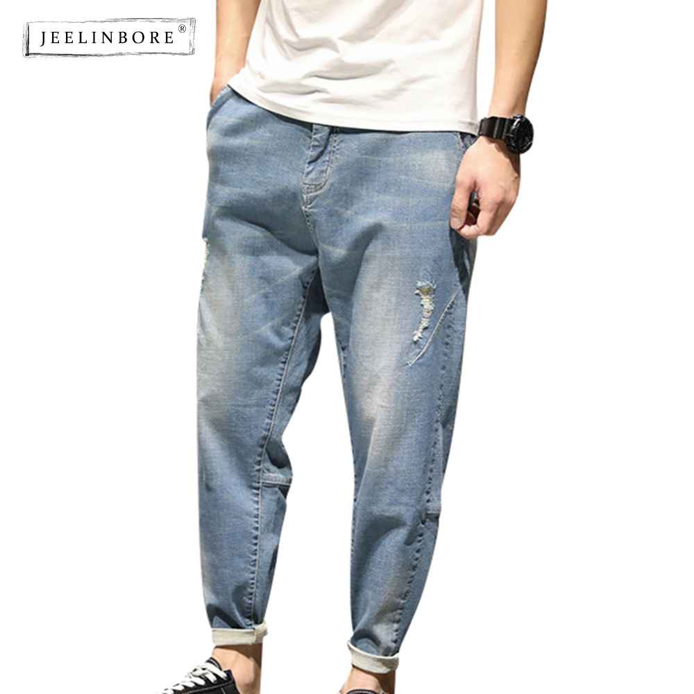 JEELINBORE 2018 New Summer Fashion Hole Skinny Jeans men Long Denim Loose Pants Causal trousers