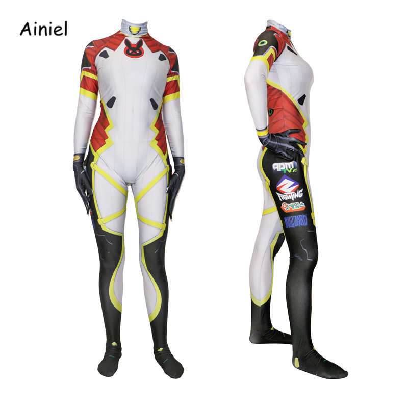 Ainiel OW DVA Cosplay Costumes  3D printing Lycra Halloween Jumpsuit Over watches dva Zentai D.VA Bodysuit  Women Girls Kids