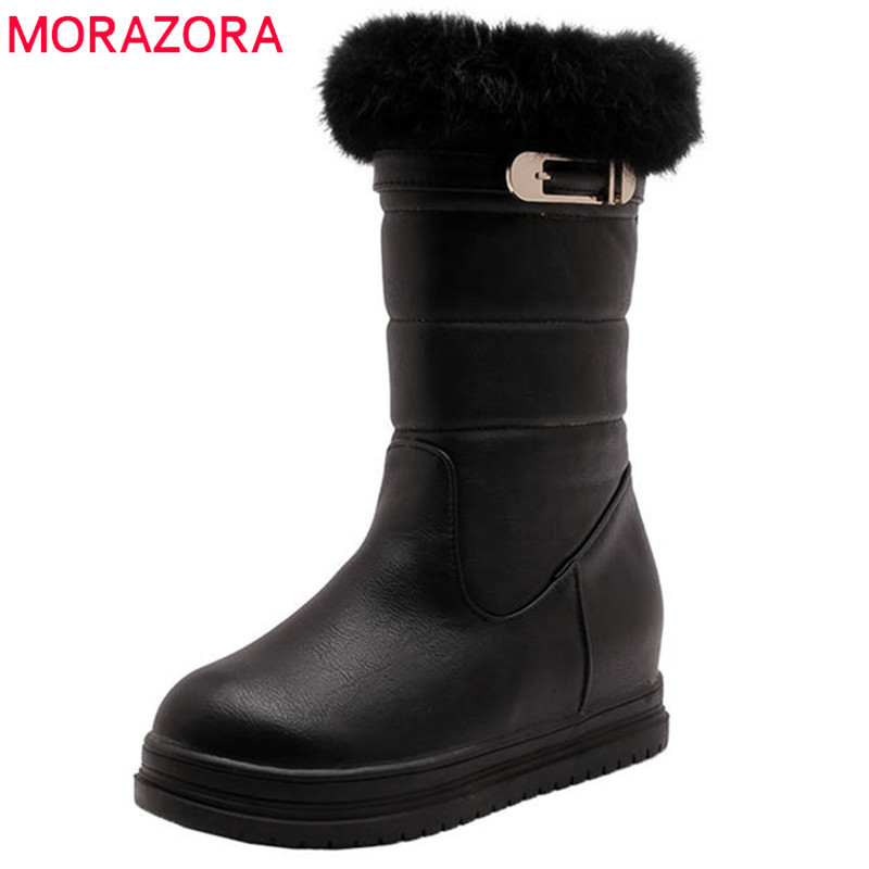 MORAZORA 2018 new arrival ankle boots for women winter snow boots round toe slip on comfortable platform shoes woman black MORAZORA 2018 new arrival ankle boots for women winter snow boots round toe slip on comfortable platform shoes woman black