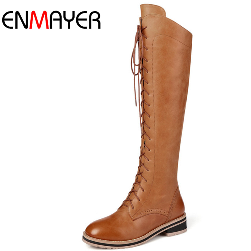 ФОТО ENMAYER 2016 Autumn/Winter Fashion Knee-high Boots Shoes Woman Zip Lace-Up Big Size 34-42 Warm Long Boots Zip Casual Flat Boots