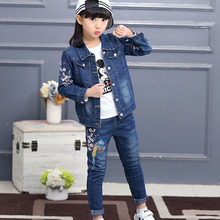 baby girl clothes denim childrens clothing 2019 new leisure peacock embroidered jackct +jeans body suit for girls